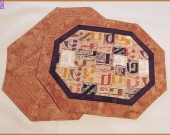 Quilted Mug Rug Candle Mat Aleph Bet 176