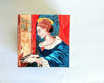 Painted Wooden Box, Saint Cecilia, Patron Saint of Music - Small Original Painting on Wood - Blue, Red, White, Gold