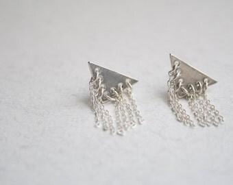 Sterling silver geometric studs, Triangle studs earrings, Unique stud earrings, Chain stud earrings, Silver fringe earrings, Fringe studs