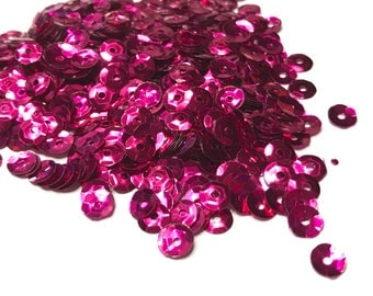 bag of Fuchsia color sequins, 5 mm (40)