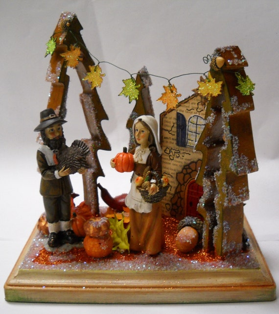 Putz centerpiece miniature village thanksgiving glitter