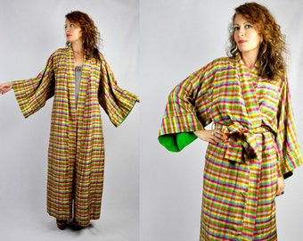 RAW SILK Robe - Colorful Checkered Robe - Bed Jacket - Layering - Duster Coat - Loungewear Duster Jacket - House Gown - Victoria's Secret