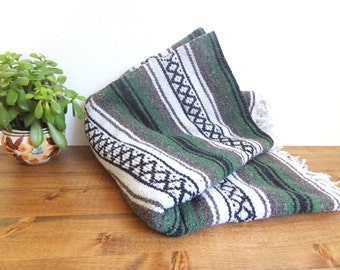 Mexican Throw/Southwest Festival Blanket/Rug/Wall Hanging -  Black, Grey, Green, White