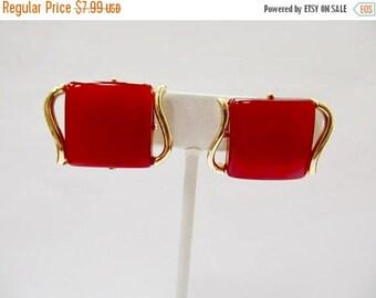 On Sale CORO Red Moonbeam Lucite Earrings Item K # 1626