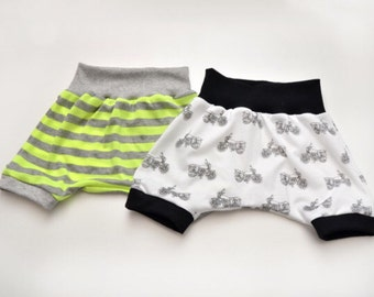 Infant/Toddler Jersey knit Harem Shorts, with ribbed Waistband and Leg Cuffs NEW PRINTS!