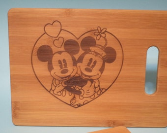 Etched Mickey & Minnie in Love Bamboo Cutting Boards / Set of TWO!