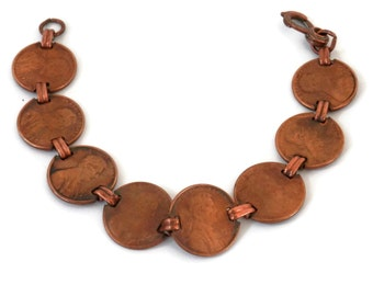 Retro Copper Penny Coin Bracelet with Lincoln Head Coins 1970's and 1980's
