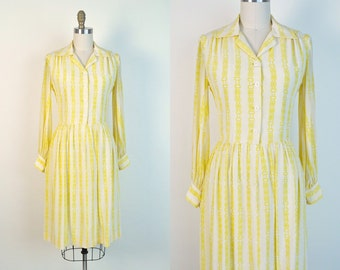 Vintage 1940s dress 40s Rayon Day Dress Early 1950s 50s