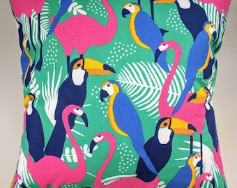 Cushion Cover in Parrot Toucan and Flamingo Print 16""