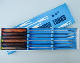 Mid Century Fondue Forks - Teak Wood, Danish Modern, kitsch party ware, made in Japan