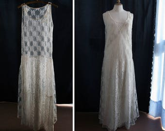 Vintage Wedding dress, french lace, beads and sequins, single model reworked