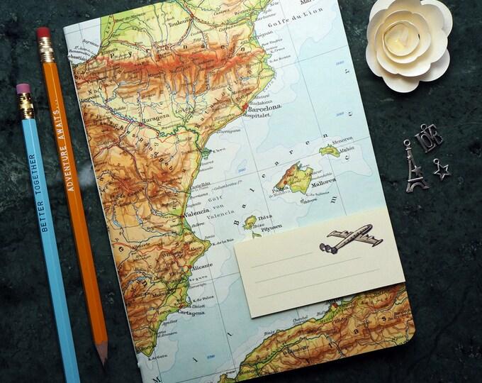 TRAVEL JOURNAL Spain, Barcelona, Madrid, Majorca, Ibiza, 5,7x8,2inch, 40 p. RULED travel journal, diary, notebook, atlas, map, vintage, 97