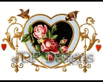 Instant Digital Download, Vintage Antique Graphic, Ornate Floral Rose Heart Frame, Birds, Romance, Wedding, Valentine's Day Printable Image