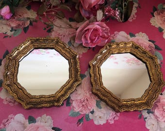 Small Gold Florentine style Accent mirrors - Set of two - Octagon - Hangers on back
