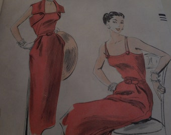 Vintage 1950's Vogue 7400 Dress and Bolero Sewing Pattern, Size 16 Bust 34