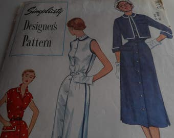 Vintage 1950's Simplicity 8273 Dress and Jacket Sewing Pattern, Size 14 Bust 32