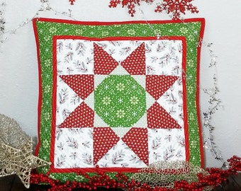 Modern Christmas Quilted Pillow Cover OOaK