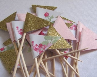 Flag Food Picks, Flag Cupcake toppers, Set of 24, Pink, Gold, Floral