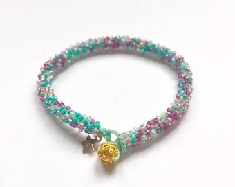 pastel rainbow, Swarovski crystal, golden button bead, beaded crochet, stackable, friendship bracelet