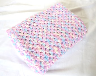 Sale Crochet Baby Blanket - 25% Off Sale - Crochet Granny Stripe Blanket for Baby or Toddler in Pink, Blue and Yellow - Ready to Ship