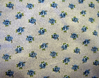 Vintage Blue Rose Fabric, Cotton, Fabric, Quilters Weight Fabric, Floral, Flower, Rose, Blue, Country, Traditional, Quilter Weight, Quilt