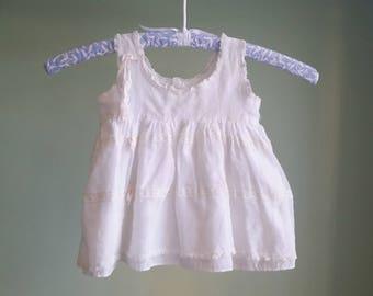 1950s Summer Breeze Dress - White Lace Layered Dress - 12 MOS