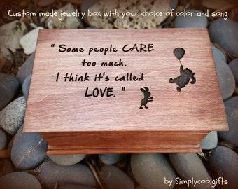 music box, winnie the pooh, musical jewelry box, jewelry box, wooden music box, custom made music box, personalized music box,