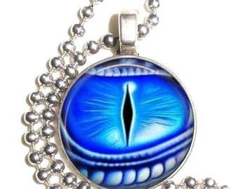 Blue Dragon Eye Altered Art Photo Pendant, Earrings and/or Keychain Round, Silver and Resin Charm Jewelry