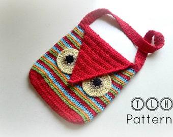 Crochet bag pattern, crochet owl bag, Striped owl bag, Pattern No. 10