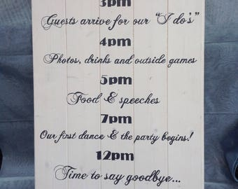 Order of the day rustic wedding sign, alternative to a chalkboard sign