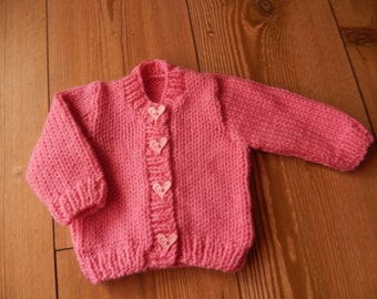 sweet little hand knit baby cardigan/sweater pink with heart shape buttons newborn