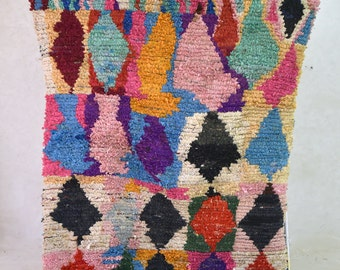 Oh Happy Day 10 X4 Boucherouite Rug Tapis By Pinkrugco