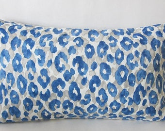 Leopard Pillow, Cheetah Pillow, Snow Leopard Cornflower, African Pillow, Animal Print Pillow, Lumbar Pillow Cover, 12 x 20 Pillow Cover,