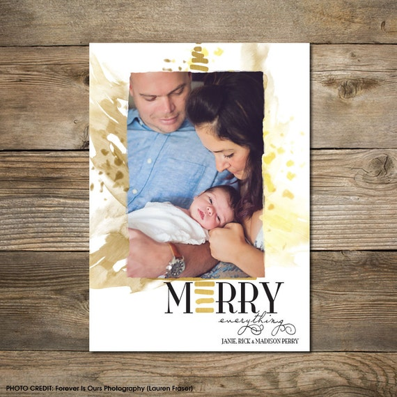 Photo Christmas Card : Faux Gold/Silver Foil Merry Everything Photo Holiday Card Printable