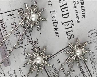 Bridal hair pins  ,  star Bobby pins , Bridal hair accessories - silver hair pins - hair pins bridesmaid - crystal pins