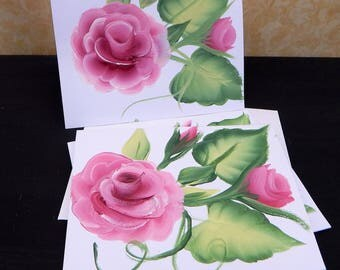 Greeting Cards, Set of 3 Greeting Cards, Handpainted, Blank Card, Note Card, Shabby Chic, Roses, Floral
