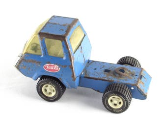 Vintage Tonka Toy Truck - Old - Blue Metal - Tonka Wheels - Mid Century Shabby Chic Decor