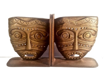 Cast Iron Tribal Mask Bookends, Tiki Mask Bookends Mid Century Ethnic Library