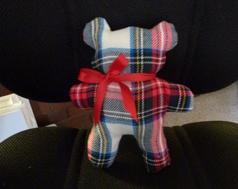 Wool Plaid Teddy Bear with  Red  Ribbon Bow