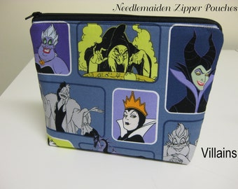 Disney Villains Print Zipper Pouch & Cosmetic Bag