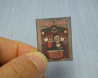 NEW Gaël Miniature vintage  sheet music punch and judy  Dollhouse Miniature child game Accessory toy, Handmade