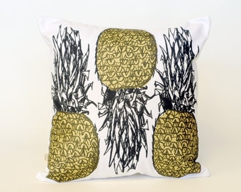 cushion, pineapple,gold, black, white, yellow, one of a kind, screen print, hand made, pillow case, pillow,