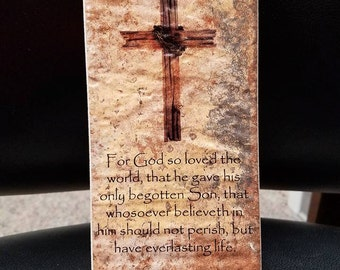 Thin Brick Plaque Tile For God so loved the world everlasting life John 3:16 Housewarming Gift Art Cross Home Decor Bible verse quote Pastor