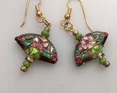 IBA Handcrafted Earrings CLOISONNÉ  Earrings Fan Shaped Cloisonné Enamel DANGLE Earrings Drop Earrings Pierced Earrings Inspired by Amber