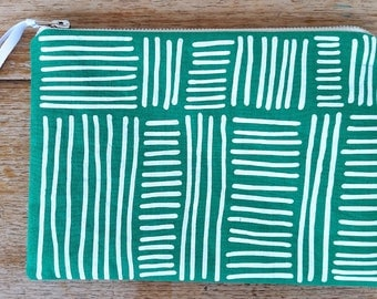 Line Weave pouch - white on emerald green - screen printed and handmade