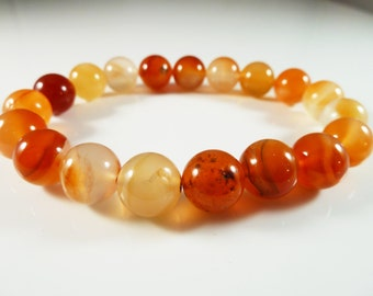 Carnelian Stretch Bracelet 10mm Smooth Round Polished Bead Orange Red Agate Chalcedony Natural Genuine