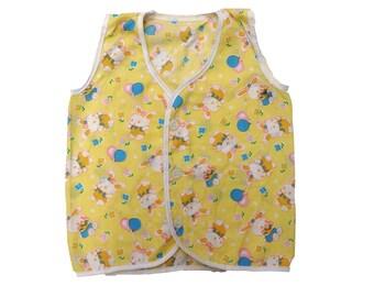 60s Vintage Yellow Bunny Waistcoat | 0-3 Months