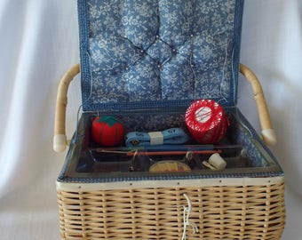 Wicker Sewing Basket with Lid and Handle Blue and White Floral Fabric Removable Insert