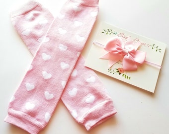 Pink Valentine Leg Warmers, Headband Set, Baby Leg Warmers, Infant Leg Warmers, Legwarmers, Ruffle Leg Warmers