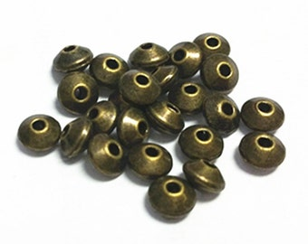 50pc 5.5mm antique bronze finish metal  beads/spacers-7495i